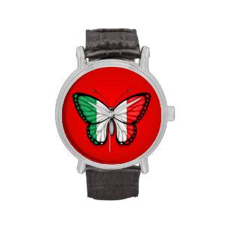 Bandera italiana de la mariposa en rojo reloj