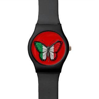 Bandera italiana de la mariposa en rojo reloj de mano