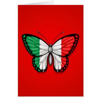 Bandera italiana de la mariposa en rojo tarjeta de felicitación