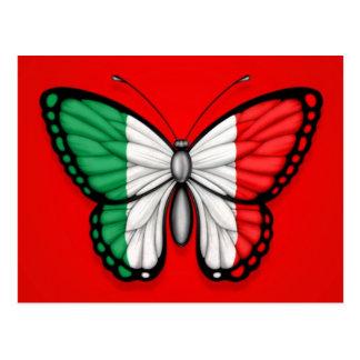 Bandera italiana de la mariposa en rojo tarjeta postal