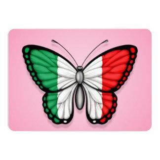 """Bandera italiana de la mariposa en rosa invitación 5"""" x 7"""""""
