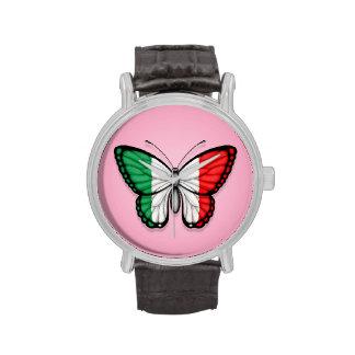 Bandera italiana de la mariposa en rosa reloj de mano