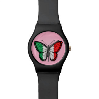 Bandera italiana de la mariposa en rosa relojes