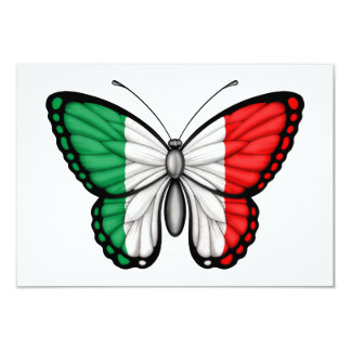 """Bandera italiana de la mariposa invitación 3.5"""" x 5"""""""