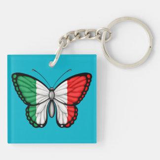 Bandera italiana de la mariposa llavero cuadrado acrílico a doble cara