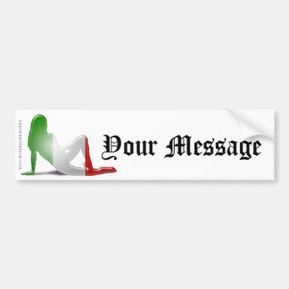 Bandera italiana de la silueta del chica pegatina de parachoque