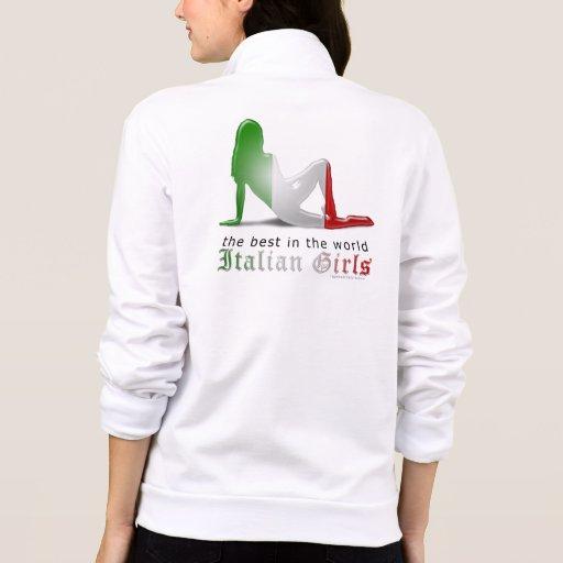 Bandera italiana de la silueta del chica chaquetas deportivas imprimidas