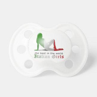 Bandera italiana de la silueta del chica chupetes de bebé