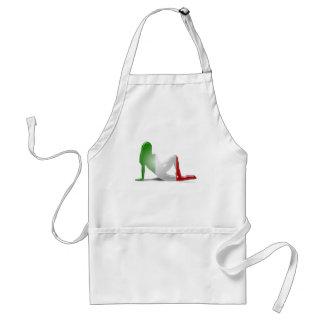 Bandera italiana de la silueta del chica delantal