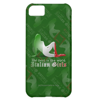 Bandera italiana de la silueta del chica funda para iPhone 5C