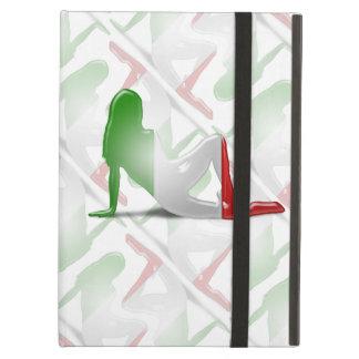 Bandera italiana de la silueta del chica