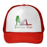 Bandera italiana de la silueta del chica gorro de camionero