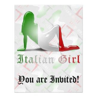 Bandera italiana de la silueta del chica invitaciones personales