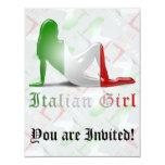 Bandera italiana de la silueta del chica invitación 10,8 x 13,9 cm