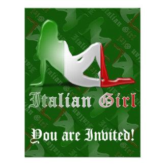 Bandera italiana de la silueta del chica comunicados personales