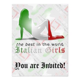 Bandera italiana de la silueta del chica invitacion personalizada