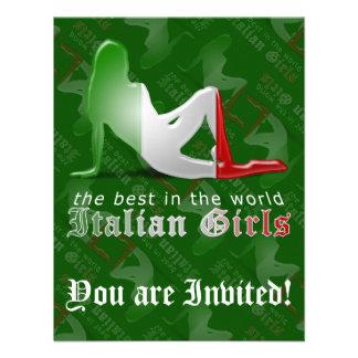 Bandera italiana de la silueta del chica anuncio