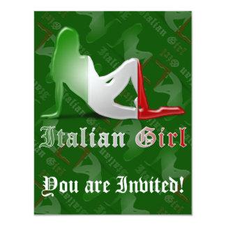 """Bandera italiana de la silueta del chica invitación 4.25"""" x 5.5"""""""