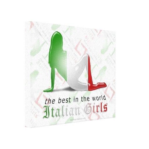 Bandera italiana de la silueta del chica lona estirada galerías