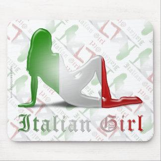 Bandera italiana de la silueta del chica mousepad