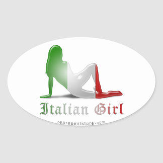 Bandera italiana de la silueta del chica calcomanías ovaladas personalizadas
