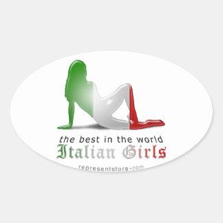 Bandera italiana de la silueta del chica pegatina oval