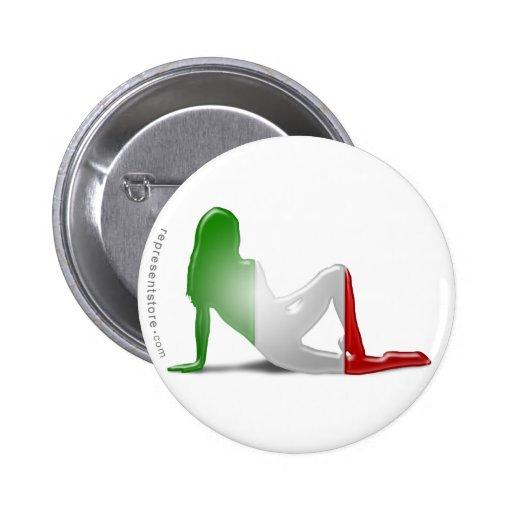 Bandera italiana de la silueta del chica pin