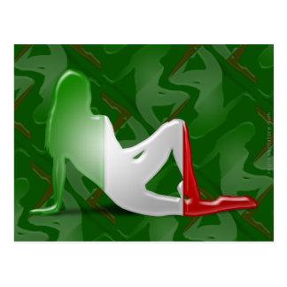 Bandera italiana de la silueta del chica postal