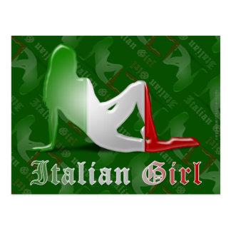 Bandera italiana de la silueta del chica postales