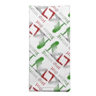 Bandera italiana de la silueta del chica servilleta de papel