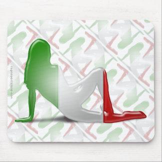 Bandera italiana de la silueta del chica tapete de raton