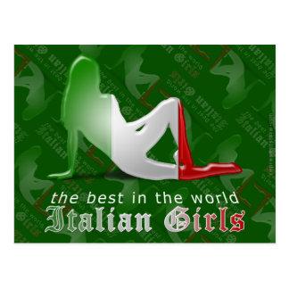 Bandera italiana de la silueta del chica tarjeta postal