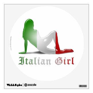 Bandera italiana de la silueta del chica vinilo