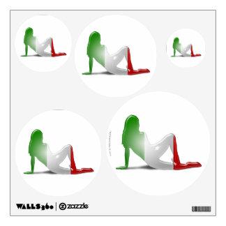 Bandera italiana de la silueta del chica vinilo adhesivo