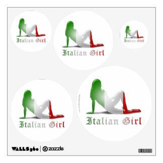 Bandera italiana de la silueta del chica vinilo decorativo