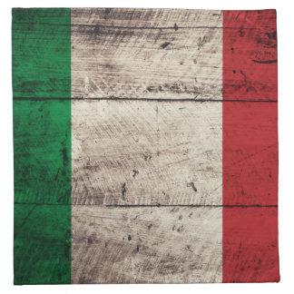 Bandera italiana de madera vieja; servilleta imprimida