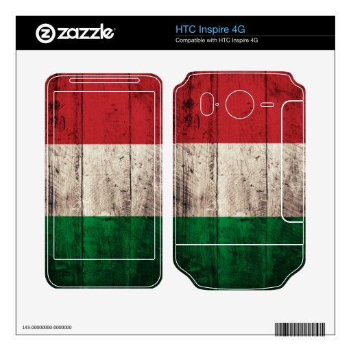 Bandera italiana de madera vieja; skins para HTC inspire 4G