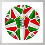 Bandera italiana del balón de fútbol de Italia de  Poster