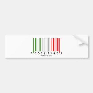 Bandera italiana del código de barras pegatina de parachoque