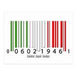 Bandera italiana del código de barras tarjeta postal