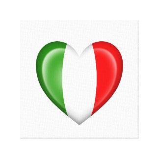 Bandera italiana del corazón en blanco impresiones en lona