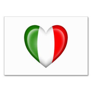 Bandera italiana del corazón en blanco