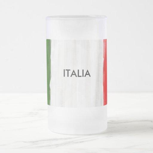 Bandera italiana del estilo de la pintura al óleo taza de cristal