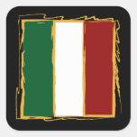 Bandera italiana en garabato abstracto calcomania cuadrada personalizada