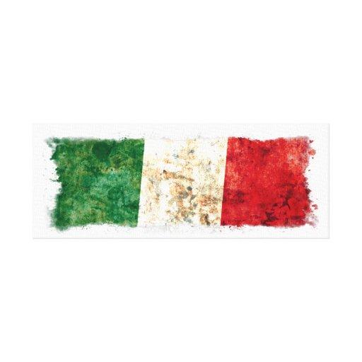 Bandera italiana impresión en lienzo estirada