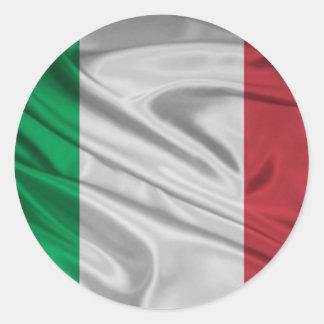 Bandera italiana orgullosa y patriótica pegatina redonda