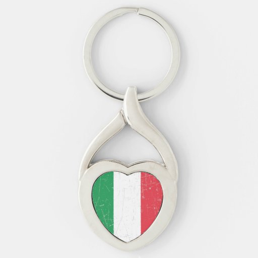 Bandera italiana rascada y rasguñada llaveros