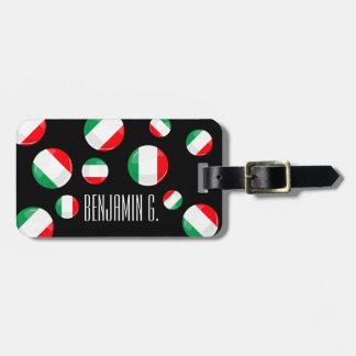 Bandera italiana redonda brillante etiquetas para maletas