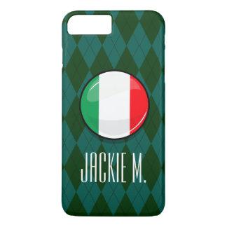 Bandera italiana redonda brillante funda iPhone 7 plus