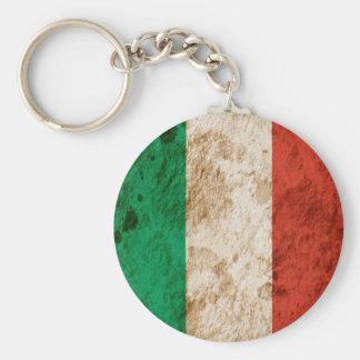 Bandera italiana rugosa llavero redondo tipo pin